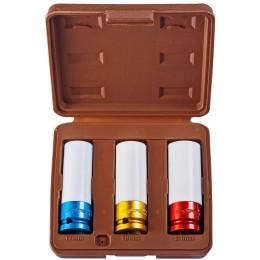 Набор торцевых ударных глубоких головок 12 DR, 17, 19, 21 мм, 3 предмета (пластик, цве