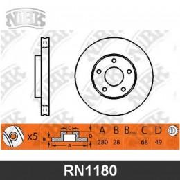 RN1180V Диск тормозной | перед |